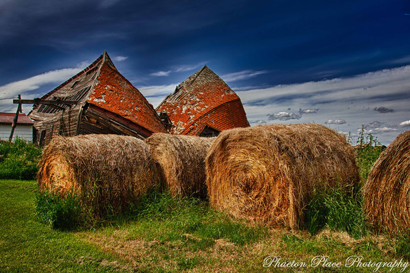 Collapsed Barn with Hay Bales